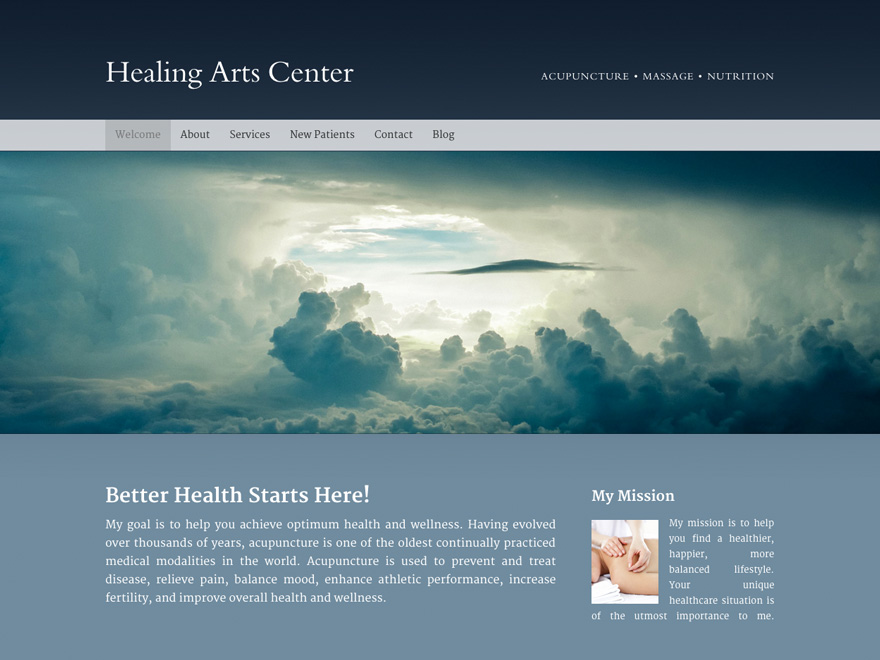 Clean and simple acupuncture website design (#00038).