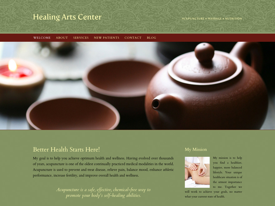 Dragon frieze, customizable acupuncture website design (#00040)