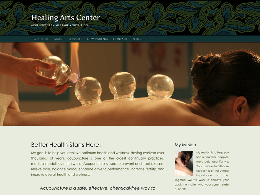 Floral Frieze acupuncture website template (#00042)