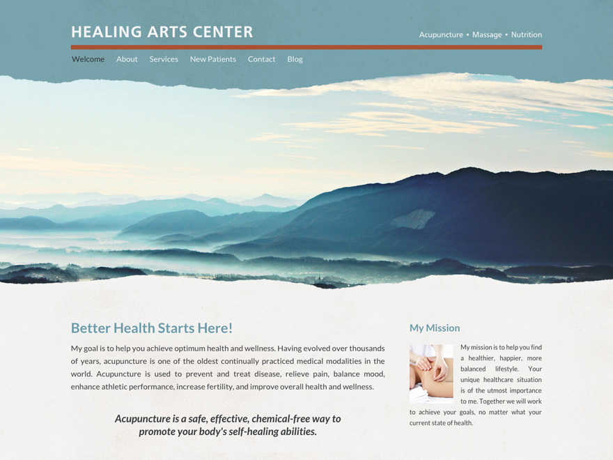 Torn away responsive website design of acupuncture clinic (#00061)