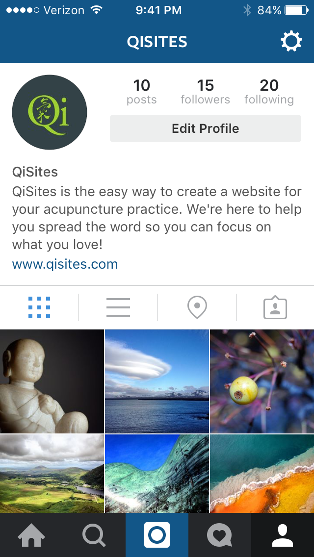 QiSites acupuncture marketing on Instagram