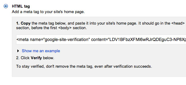 Verify a website for Google Search Console